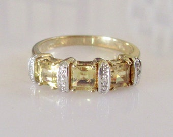 9ct Gold Citrine and Diamond Ring