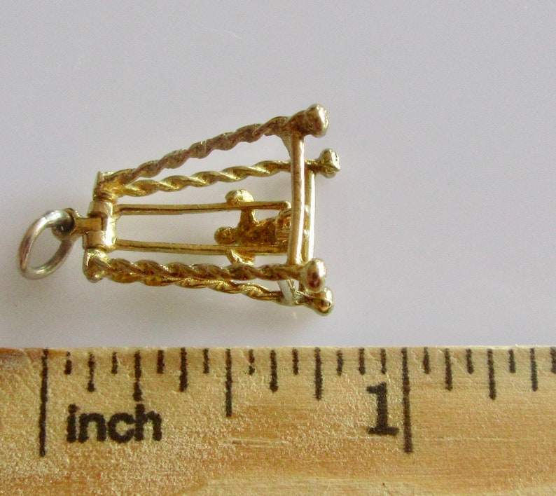 Gold Boy on a Swing Movable Vintage 9ct Charm