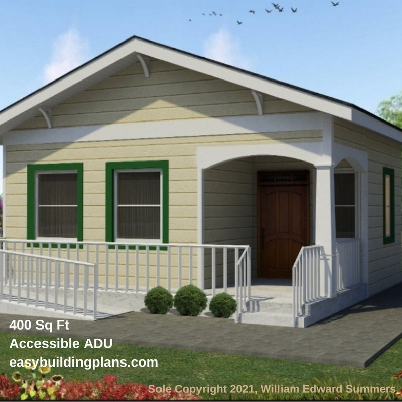 Wheelchair Accessible 400 Square Foot 1-Bedroom ADU Plans image 1