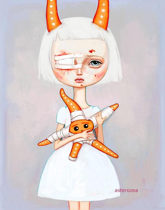 Pop Surrealism Girl Wall Art Print Big Eyes Girl Creepy Etsy
