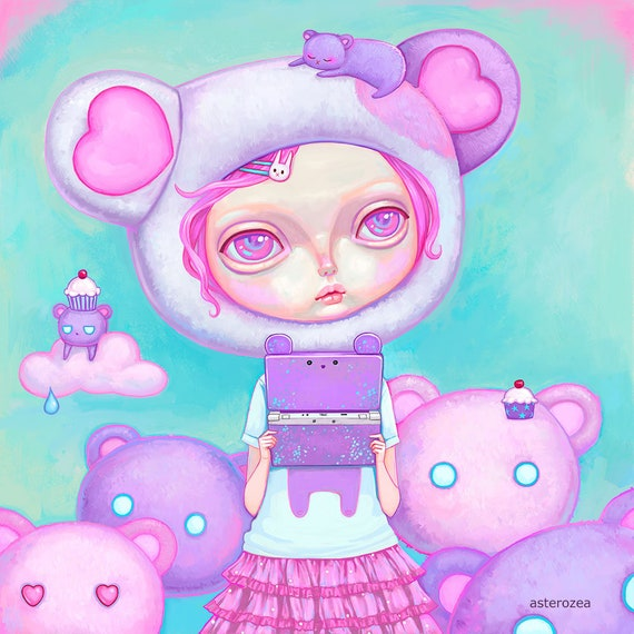 Kawaii Art Print Pastel Kei Fairy Kei Pastel Pink Hair Etsy