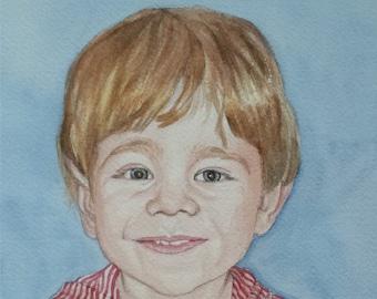 Custom Kid's Watercolor Portrait, Custom Watercolor, Realistic Portrait, Portrait of Children