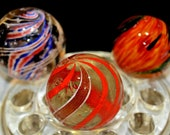 Lot of 3 Huge German Vintage Marbles including Ultra rare 1 25 32 quot German Lutz Onion Skin and Divided Core