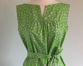 Summer 60s Style Sleeveless Dress with Tie Belt in Lime Green with Silver Spots