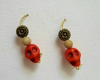 Frida Kahlo Inspired Day of the Dead Skull Flower Earrings