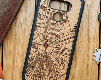 LG G6 Natural Real Cherry Wood Star Wars Millenium Falcon case | LG G6 cover