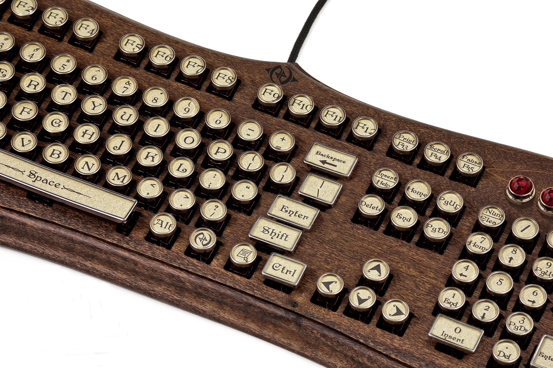 The Diviner Keyboard - Datamancer Wooden Steampunk Typewriter Keyboard  Mechanical Elegant Victorian Style Acanthus Engraved Carved Walnut