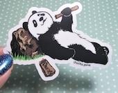 Panda Eating Churros CLEAR die cut Sticker Water resistant sticker