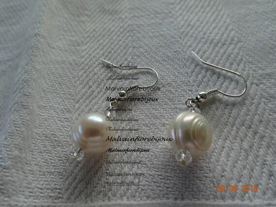 Calidad superior 19c0a 4affe PENDIENTES, aretes, Boucles oreille perlas-perlas de río y cristales –  barroco agua dulce perlas pendientes-pendientes de perlas
