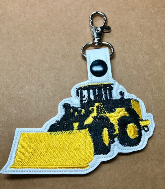 Front End Loader Key Fob / Snap Tab Machine Embroidery Design