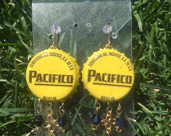 Pacifico Bottle Cap Earrings with Bead Work