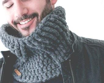 Crochet Cowl PATTERN - Collar Down Cowl - Unisex Cowl - Men's Crochet Pattern - Cable Cowl - Crochet Snood - PDF Pattern - VIDEO Tutorial