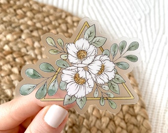Clear Gold Triangle Floral Sticker, 3x2 in.