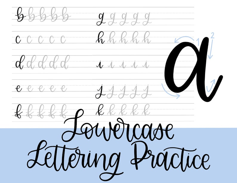 picture relating to Printable Lettering called Lowercase Lettering Educate Sheets, Printable Ground breaking Calligraphy Prepare Sheets, Novice Hand Lettering Expert Electronic Obtain