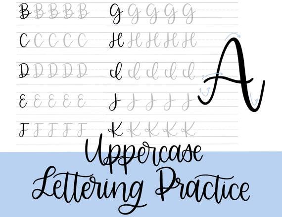 Uppercase Lettering Practice Sheets, Printable Modern Calligraphy Practice Sheets, Beginner Hand Lettering Guide Digital Download