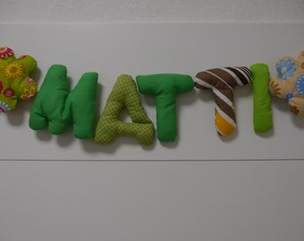 Fabric Letter Color Green Brown
