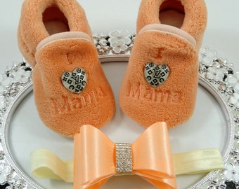 Baby Girl Slipper/Shoes and Headband Set, Newborn Baby Girl Shoes, Baby Accessories, Shower Gift, Gift for Baby