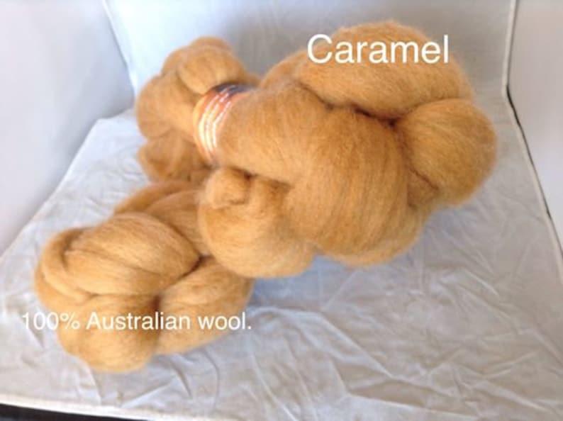 Hand Dyed wool Roving Caramel 100g