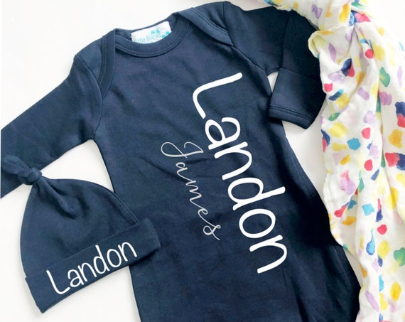 Baby Boy Navy Name Gown