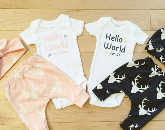 Twins Coming Home Outfit / Boy Girl Twins / Hello World / Pink and Blue / Deer / Buck / Woodland / Baby Clothes