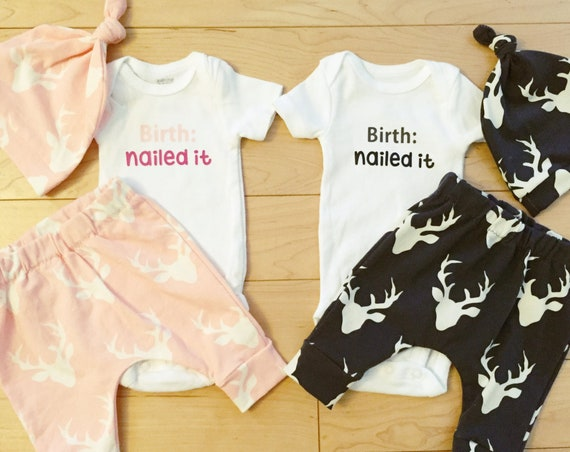 Twins Deer Coming Home Outfit