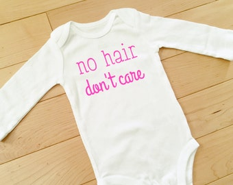 f7153c441242 No Hair Don't Care Bodysuit | Hot Pink | Baby Girl Clothes | Newborn
