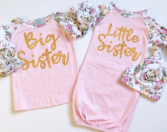 Pink Big Sister Little Sister Matching Gown Set