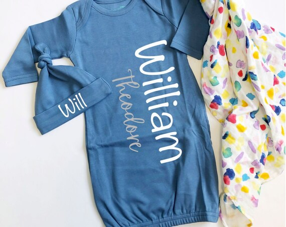 Blue Slate Baby Boy Name Gown