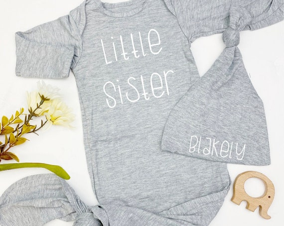 Little Brother Gown | Little Sister Heather Gray Gown
