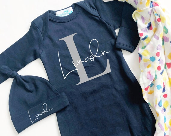 Baby Boy Monogram Letter Name Gown