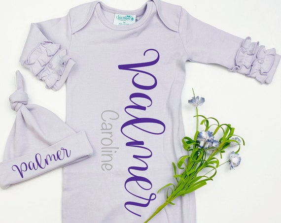 Lavender Baby Girl Name Gown