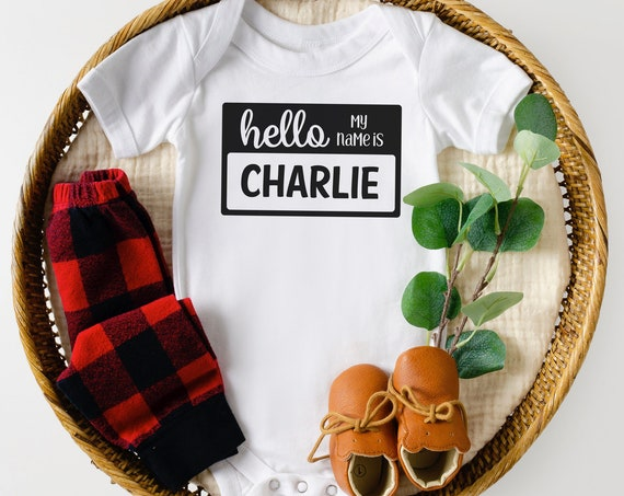 Newborn Boy Name Tag Bodysuit