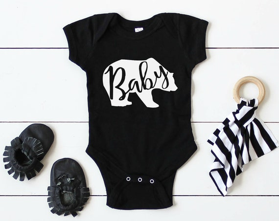 Baby Bear Sibling Shirts / Brother Sister Matching / Sibling Outfits / Boy Girl / Modern / Black White / Unisex