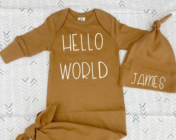Hello World Organic Newborn Gown