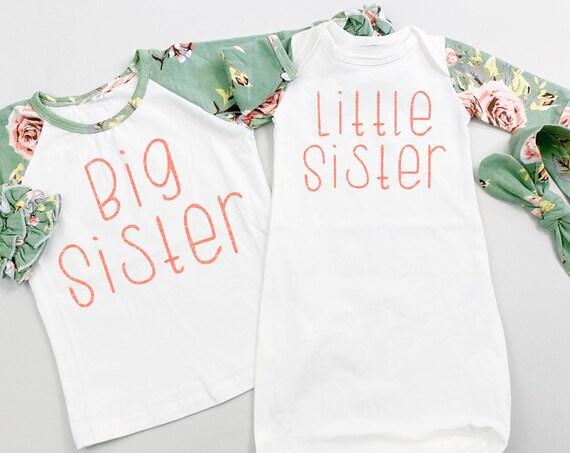 Sage Floral Big Sister Little Sister Sibling Shirts