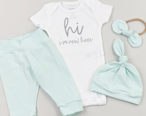 Mint Hi Im New Here Gender Neutral Coming Home Outfit | Going Home Newborn Unisex Hospital Outfit | Baby Clothes | Baby Boy | Baby Girl