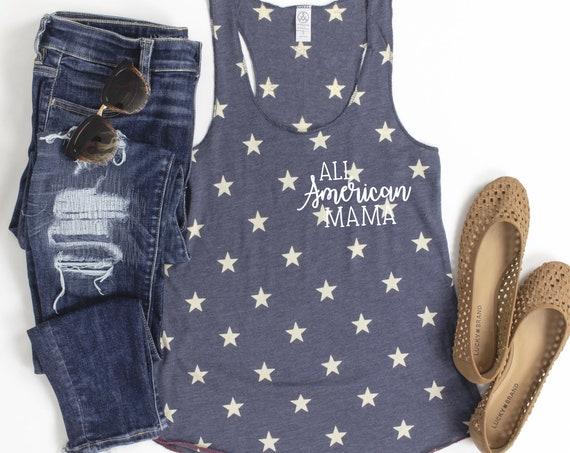 All American Mama Navy Stars Tank