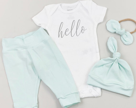 Mint Hi Im New Here Gender Neutral Coming Home Outfit | Hello Going Home Newborn Unisex Hospital Outfit | Baby Clothes | Baby Boy Baby Girl