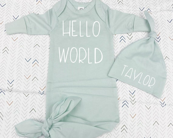Hello World Organic Newborn Gown | Gender Neutral | Unisex Set | Swaddle Blanket | Earth Tone | White | Mint | Gray