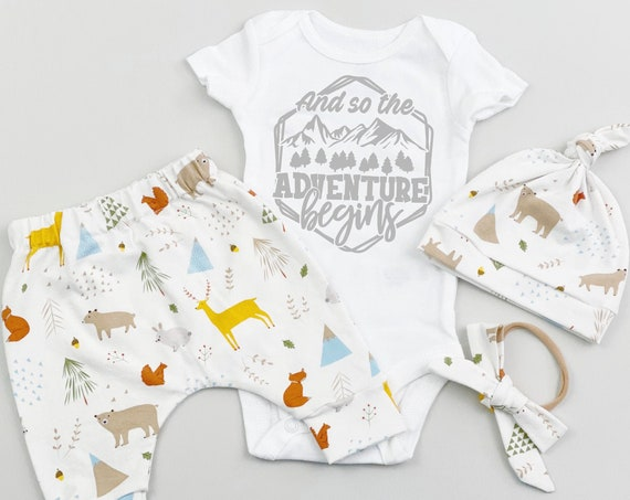 Cream Deer Woodland Gender Neutral Coming Home Outfit