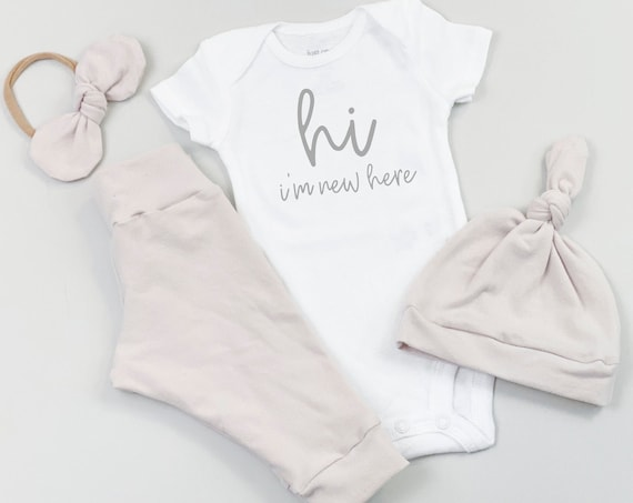 Dusty Rose Hi Im New Here Baby Girl Coming Home Outfit