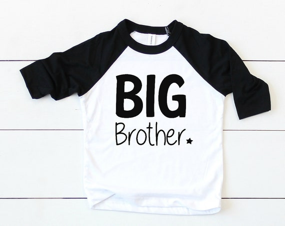 Big Brother Sibling Shirts / Brother Matching / Sibling Outfits / Toddler Boy / Modern / Black White / Unisex