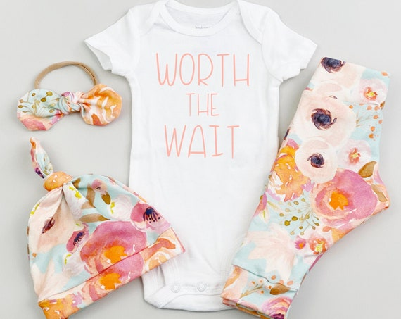 Aqua Peach Floral Coming Home Outfit