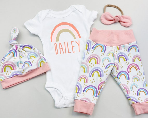 Rainbow Baby Girl Going Home Outfit