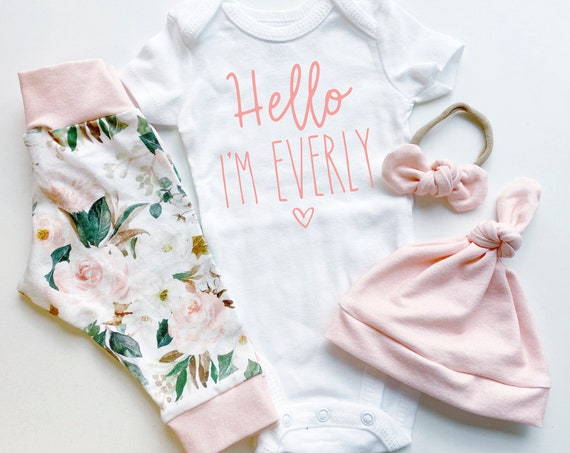 Magnolia Peach Floral Coming Home Outfit | Pink Going Home Set | Baby Girl | Newborn | Hello I'm | Personalized Name Preemie