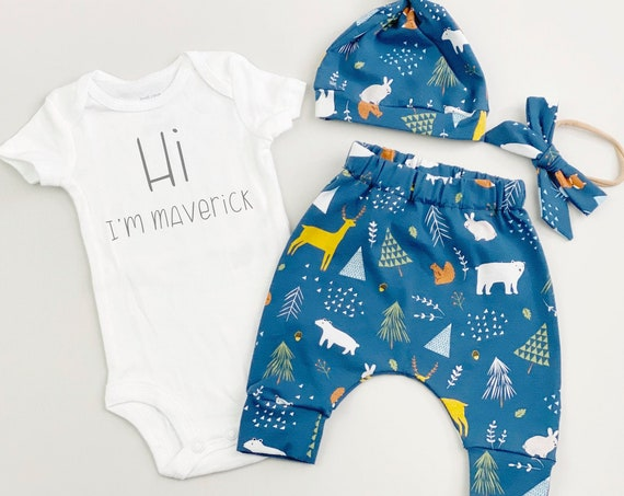Blue Woodland Gender Neutral Going Home Outfit