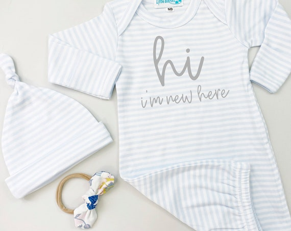 Newborn Baby Blue Stripe Gown | Hi Im New Here Set