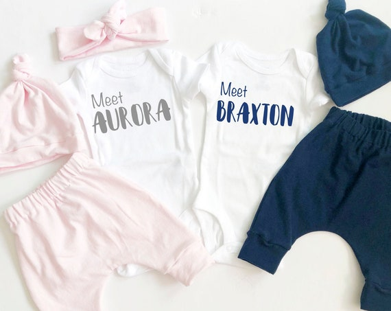 Twins Coming Home Outfit | Boy Girl | Solid Blue and Pink | Hi Im New Here | Meet Baby Name | Knot Hat | Headband