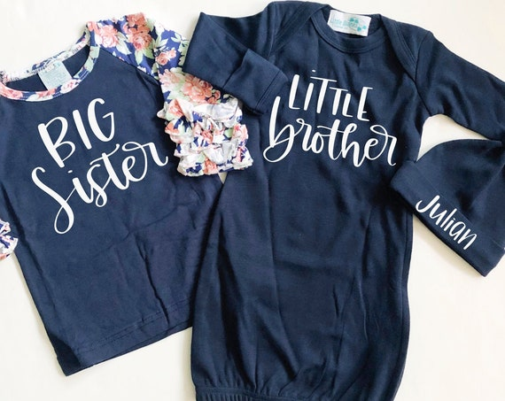 Navy Ruffle Big Sister Little Brother Matching Sibling Set