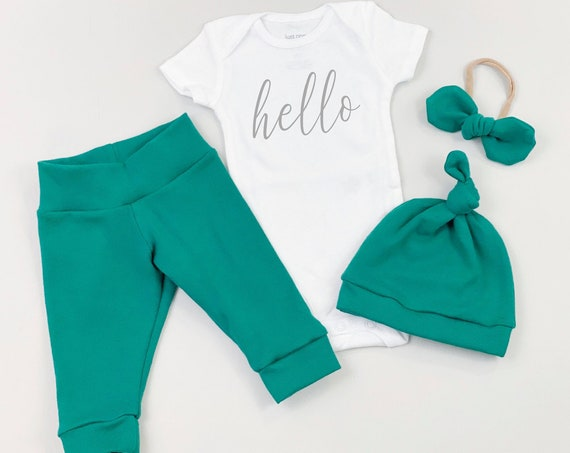 Jade Forest Hello Gender Neutral Coming Home Outfit